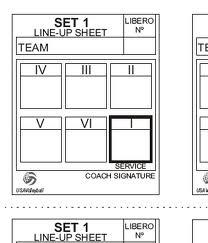 I mesterskap som NM må lagleder fylle inn rotasjonskort og levere disse før starten på hvert sett.