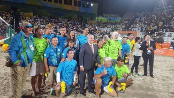 Bjørn Maaseide og Jan Kvalheim var med i publikumsoppvarmingen i Rio.
