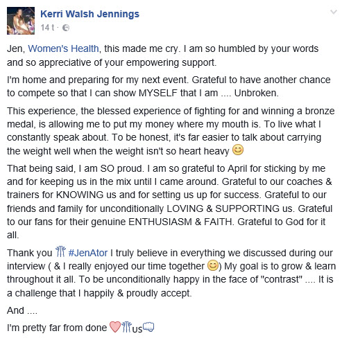 Kerri Walsh Jennings på Facebook - I'm pretty far from done